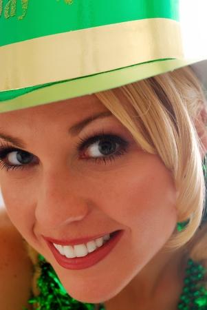 lass: Beautiful Irish Lass in a St. Pattys Party Hat