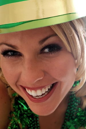 Beautiful Irish Lass in a St. Pattys Party Hat  photo