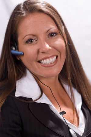 Administrative Assistant or Receptionist with Headset 免版税图像