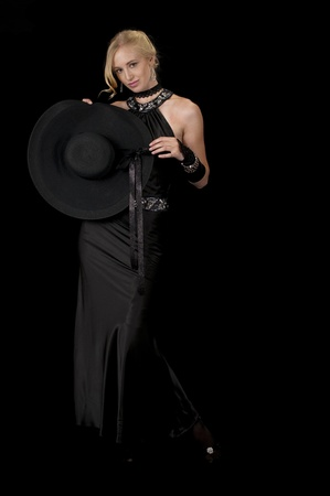 Black Cocktail Gown Striptease Series-Removing Hat