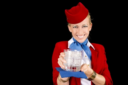 an attendant: Friendly Stewardess Bringing a Welcoming Beverage.