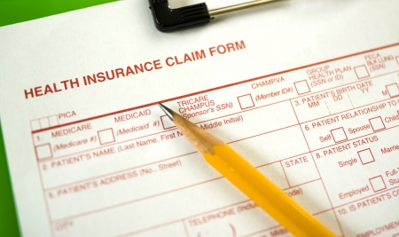 reimbursement: Health Insurance Claim Form -- Shallow Depth of Field