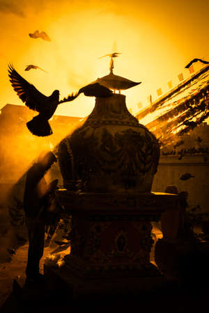 bodnath: Early Morning Prayer at Bodnath Stupa in Kathmandu , Nepal
