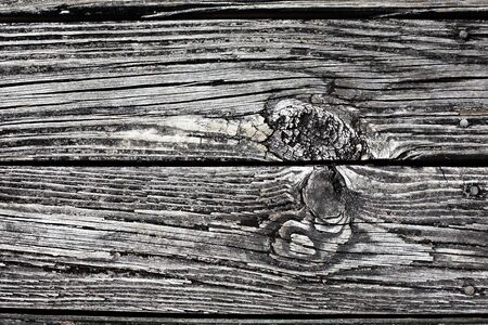 Closeup of two weathered grey wood planks