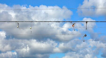 Fishing tackle snagged on power lines