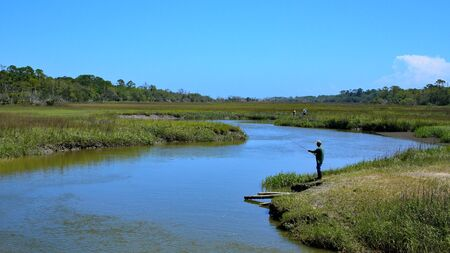 Fishing on Clam Creek, Jekyll Island, Georgia Banco de Imagens