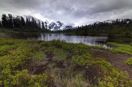 Mt. Shuksan Picture Lake Washington State National Forest Stock Photo