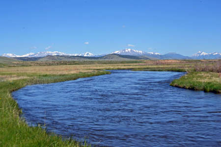 south platte river: Blue River Curving Stock Photo