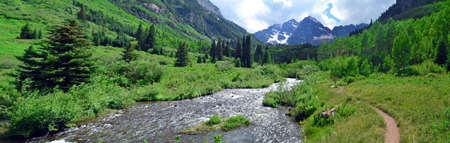 and hiking path: Maroon Bells in Aspen, Colorado