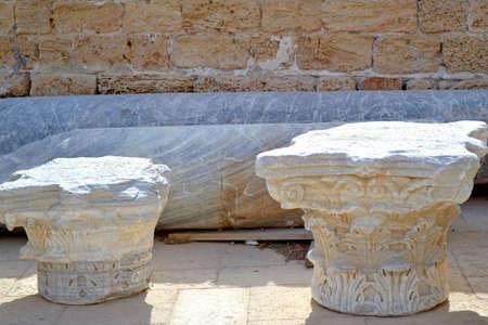 caesarea: Greek Corinthian style pillar in Caesarea, Israel Stock Photo