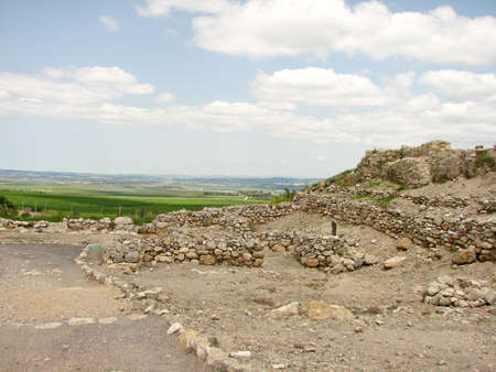 remains: Ancient archaeological remains of Har Megiddo, Israel.
