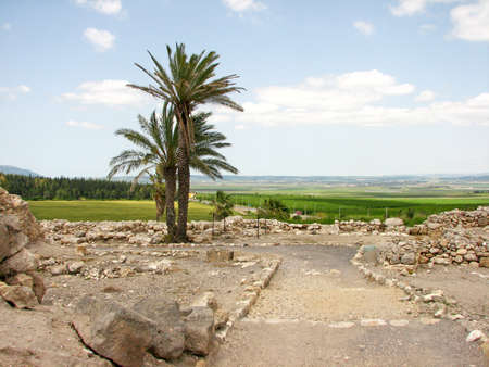 Path through the ancient ruins in Har Megiddo