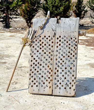 threshing: Threshing board used in early farming practices.