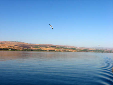 the gospels: Boating on the Sea of Galilee in Israel