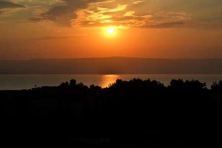 the gospels: Sunrise on the Sea of Galilee in Israel