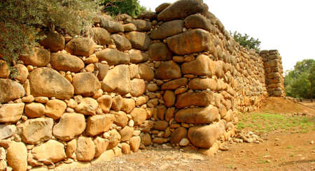 Ancient stone wall in Tel Dan Israel