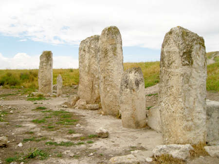 tel: Standing pillars in Tel Gezer, Israel Stock Photo