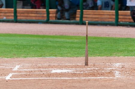 Baseball bat standing upright at home plate in between innings