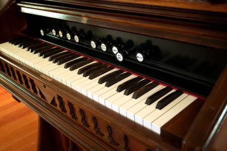 Antique organ piano close up on heys.