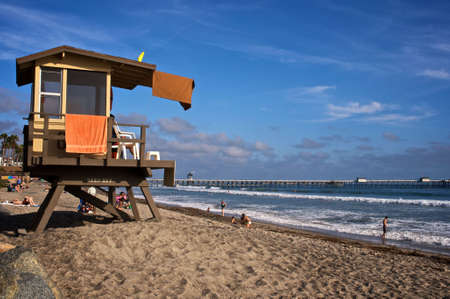 Lifeguard tower on San Clemente beach in Southern California