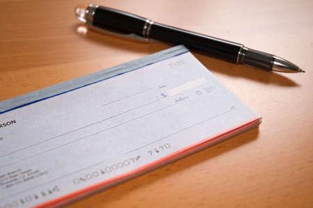 credit union: Preparing the check Stock Photo