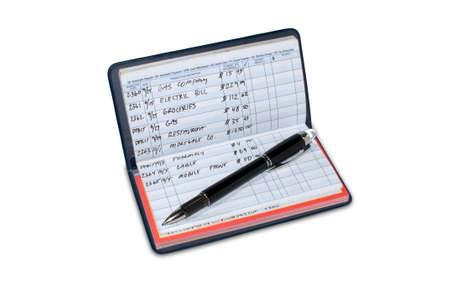 checkbook: Registro de la cuenta de tesorer�a con gastos mensuales y equilibrio de cuenta corriente