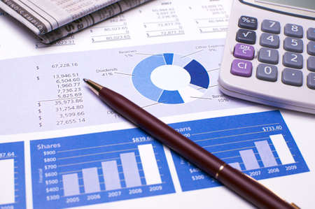 Financial Planning and Review of Year End Reports Stock Photo