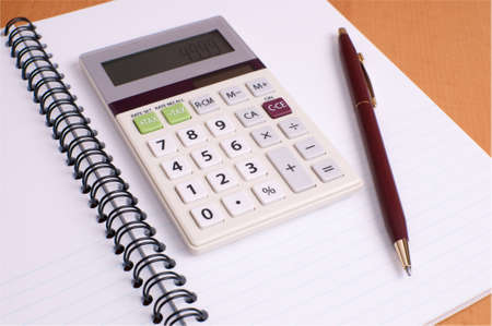 Financial Planning Notepad with Color Coordinated Calculator and Pen