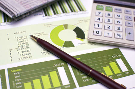 Financial Planning, Pen and Calculator and Review of Year End Reports Stock Photo - 5748827