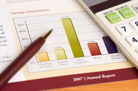 Financial Planning and Review of Year End Reports with Pen and Calculator on wood desktop.