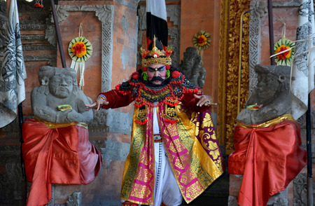 KOTA DENPASAR, BALI, INDONESIA- MARCH 30, 2019: Sahadewa Barong Dance at Denpasar, Bali, Indonesia. It's Balinese traditional and popular dance which are performed by local professional actors.