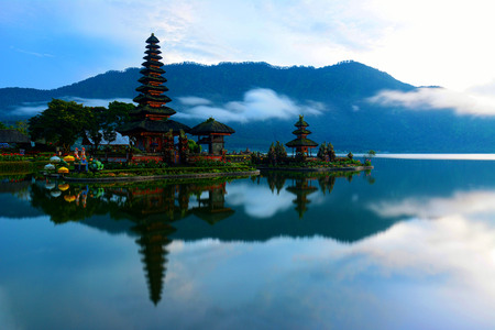 Scenic view of pura ulun danu bratan temple in Bali, Indonesia. One of the famous landmarks and destination at Bali.