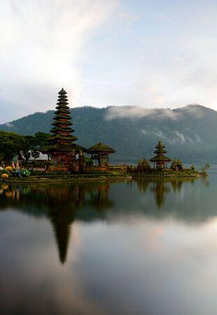 Pura Ulun Danu Beratan Temple at Bedugul, Bali Indonesia. Scenic view during sunrise.