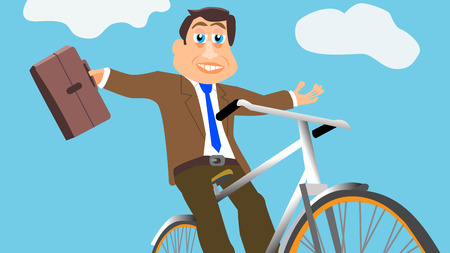 Businessman On Bicycle Vector