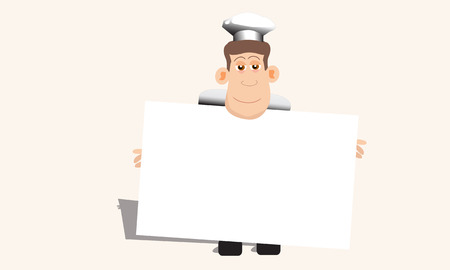 Chef Hold Up Blank Menu Ilustrace
