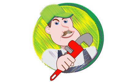 Plumber Holds Pipe Wrench Reklamní fotografie - 31464788