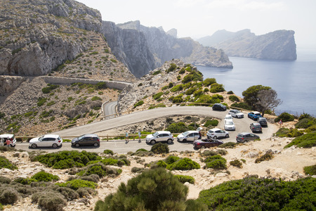 queueing: Busy cars queueing on mountain roads in Mallorca