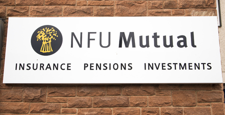 farming sign: NFU Mutual sign outside an office of  NFU Mutual in Cumbria.  NFU Mutual provide insurance, pensions and investment services and specialise in the farming, country and agricultural community.