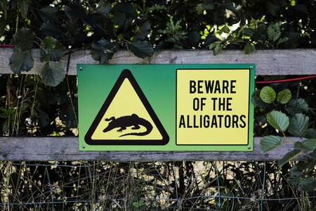 alligators: Sign attached to a wooden fence warning people to beware of the alligators