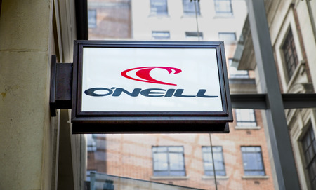 ONeill logo on the sign outside the ONeill clothing and sports store in Leeds, UK.