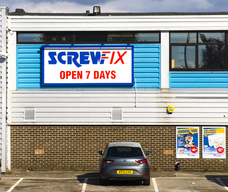 ScrewFix.  Sign on the Screwfix shop in Seacroft, Leeds.
