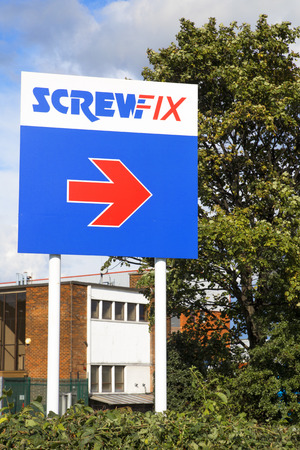 ScrewFix.  Sign outside the Screwfix shop in Seacroft, Leeds.