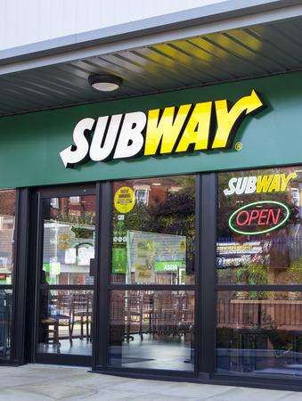 thru: Subway Drive Thru Restaurant.  Entrance to the Subway drive thru restaurant on Kirkstall Road in Leeds
