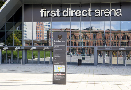 Leeds Arena.  Signs outside the main entrance to the First Direct Leeds Arena