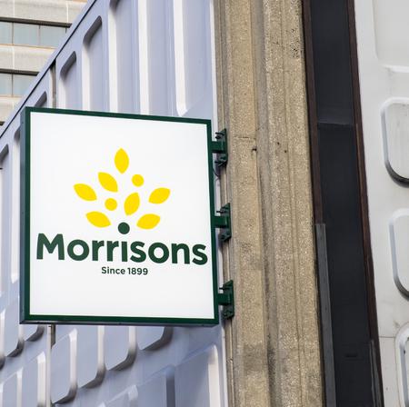 refurbished: Morrisons. New Morrisons Supermarket Logo outside refurbished Merrion Centre Store in Leeds. Editorial