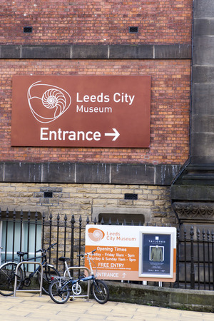 Leeds City Museum.  Sign on the outside of the Leeds City Museum