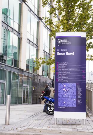 Leeds Beckett University Rose Bowl Sign at the City Campus