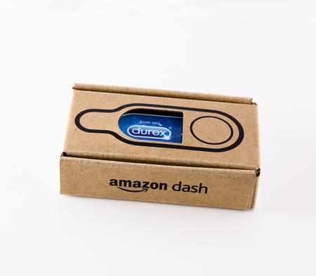 condoms: LEEDS, UK - 17 November 2016.  Photograph of an Amazon Dash button for durex condoms.
