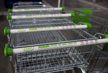 LEEDS, UK 9 FEBRUARY 2016. Asda Supermarket trolley outside superstore in Leeds.