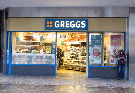 LEEDS, UK - 8 DECEMBER 2015.  Greggs plc Bakery Shop in Leeds.